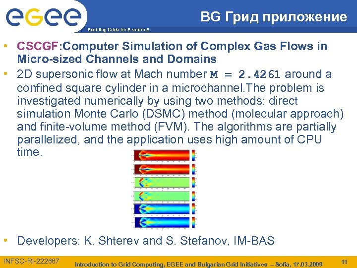 BG Грид приложение Enabling Grids for E-scienc. E • CSCGF: Computer Simulation of Complex