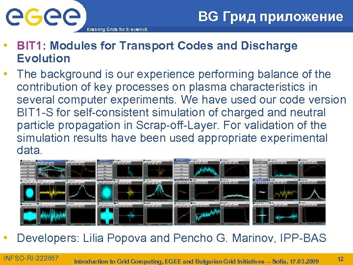 BG Грид приложение Enabling Grids for E-scienc. E • BIT 1: Modules for Transport
