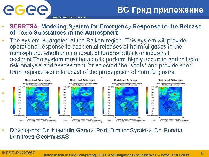 BG Грид приложение Enabling Grids for E-scienc. E • SERRTSA: Modeling System for Emergency