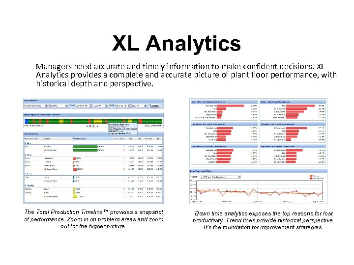 XL Analytics Managers need accurate and timely information to make confident decisions. XL Analytics