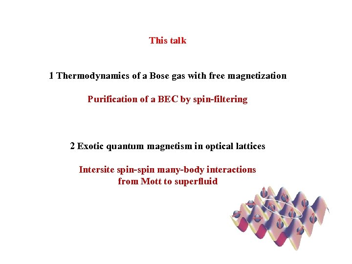 This talk 1 Thermodynamics of a Bose gas with free magnetization Purification of a