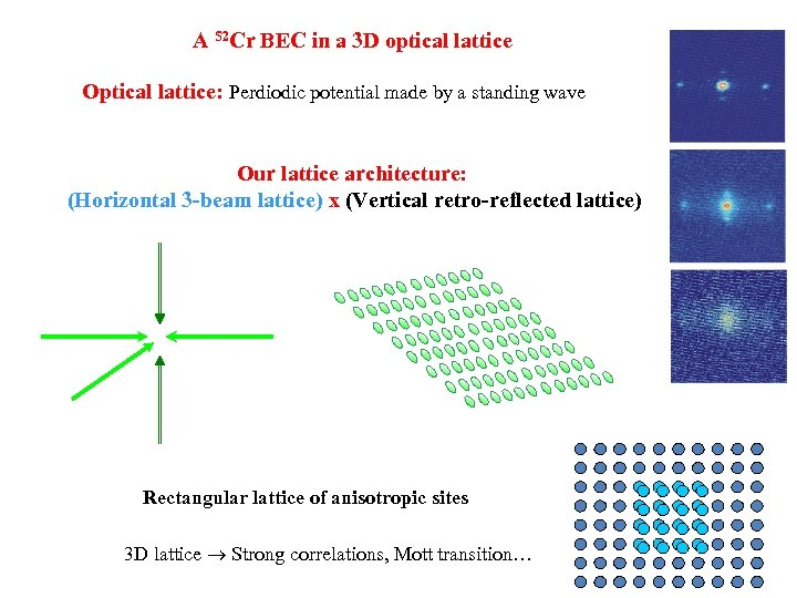 A 52 Cr BEC in a 3 D optical lattice Optical lattice: Perdiodic potential