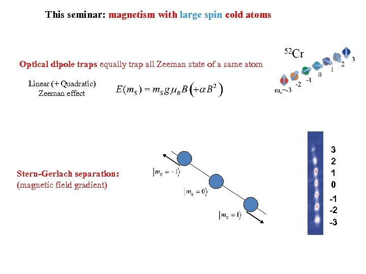 This seminar: magnetism with large spin cold atoms Optical dipole traps equally trap all