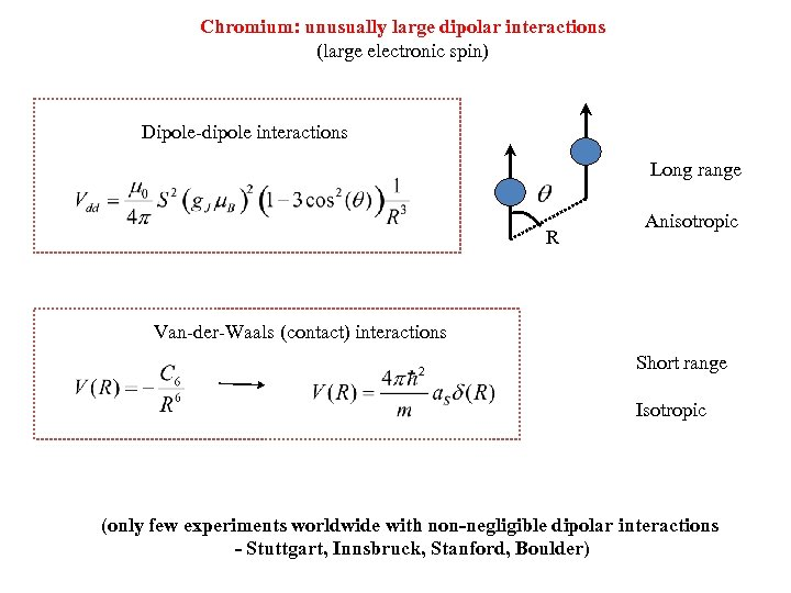 Chromium: unusually large dipolar interactions Two types of interactions (large electronic spin) Dipole-dipole interactions