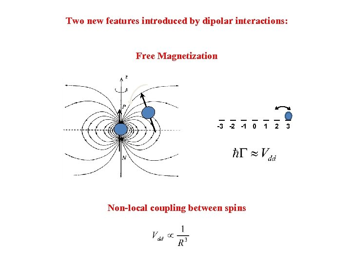 Two new features introduced by dipolar interactions: Free Magnetization -3 -2 -1 0 Non-local