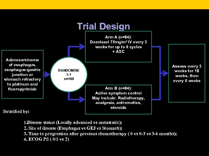 Trial Design Arm A (n=84): Docetaxel 75 mg/m 2 IV every 3 weeks for