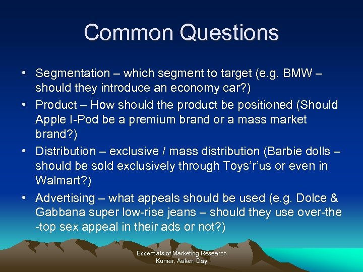 Common Questions • Segmentation – which segment to target (e. g. BMW – should