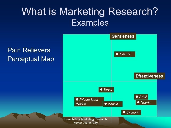 What is Marketing Research? Examples Gentleness Pain Relievers Perceptual Map l Tylenol Effectiveness l