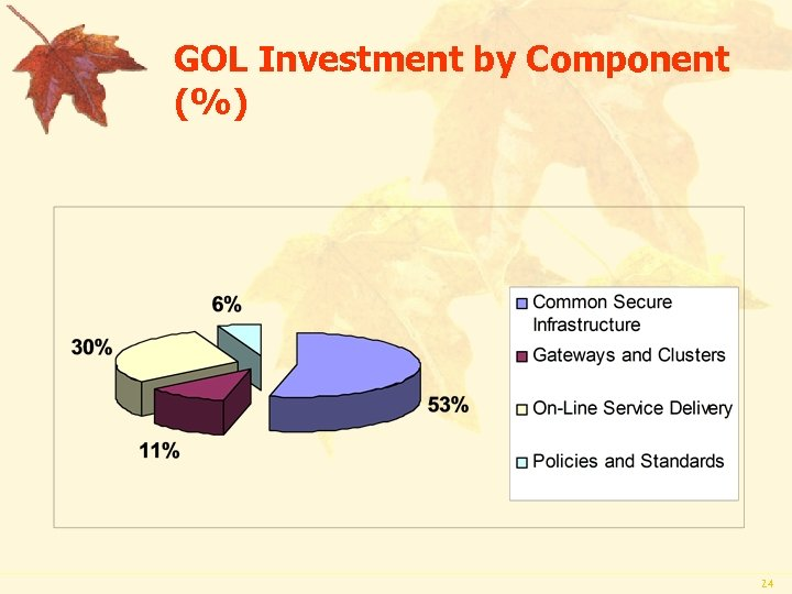 GOL Investment by Component (%) 24