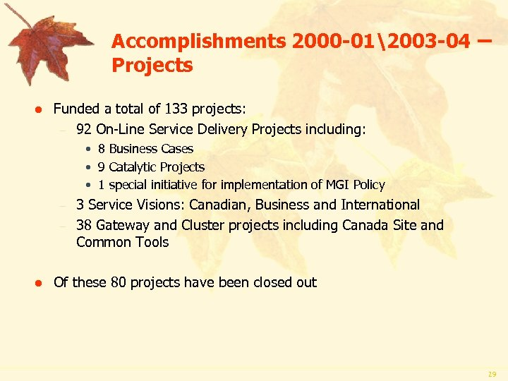 Accomplishments 2000 -012003 -04 – Projects l Funded a total of 133 projects: –