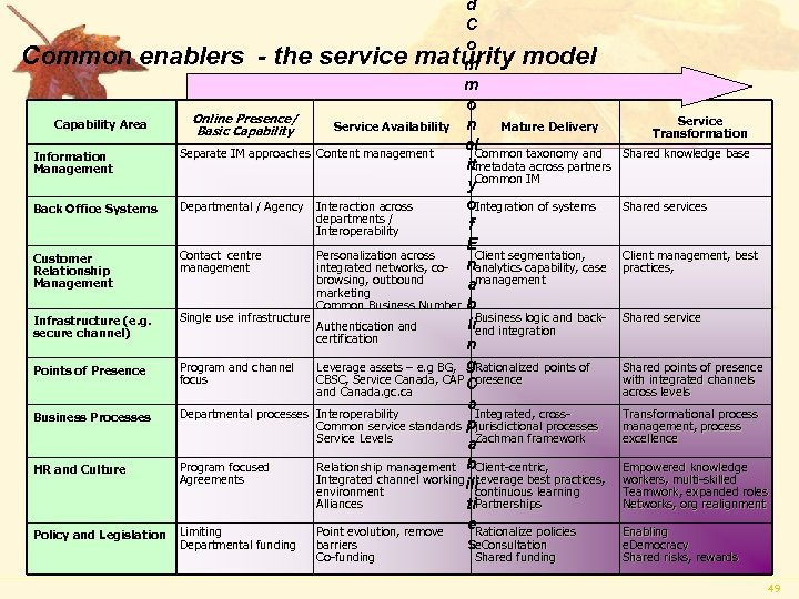 d C o Common enablers - the service maturity model m m o Online