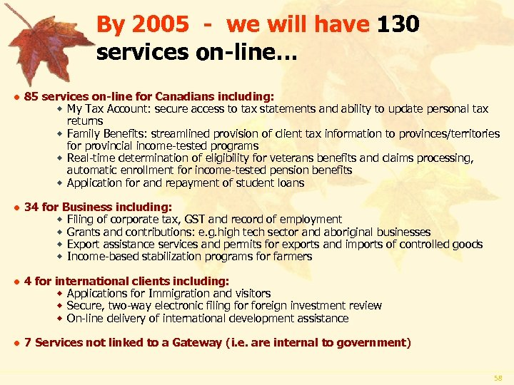 By 2005 - we will have 130 services on-line… l 85 services on-line for