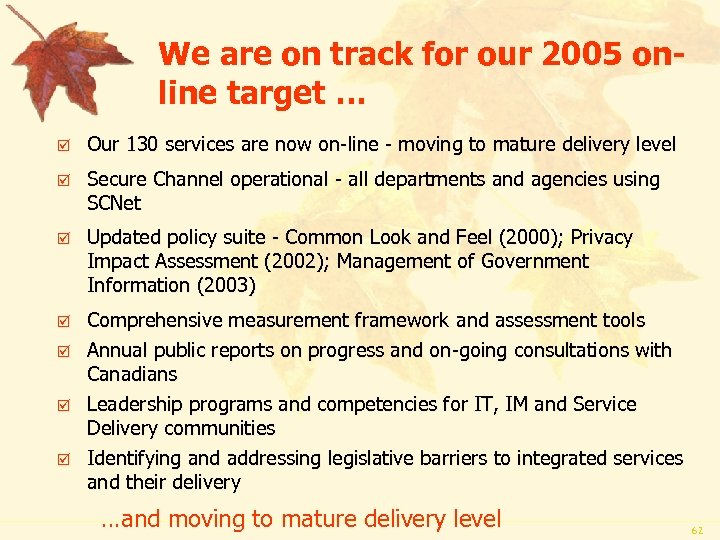 We are on track for our 2005 online target … þ Our 130 services