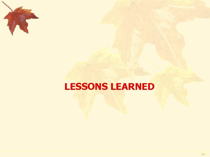LESSONS LEARNED 65