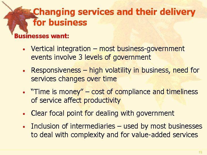 Changing services and their delivery for business Businesses want: • Vertical integration – most