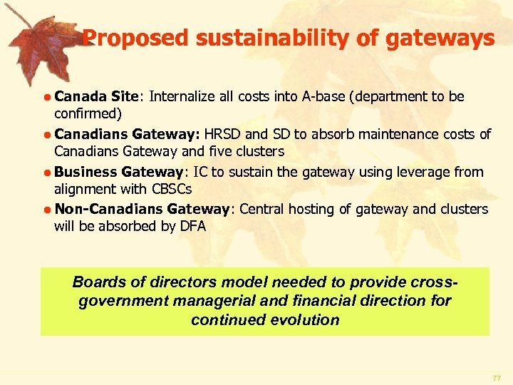 Proposed sustainability of gateways l Canada Site: Internalize all costs into A-base (department to