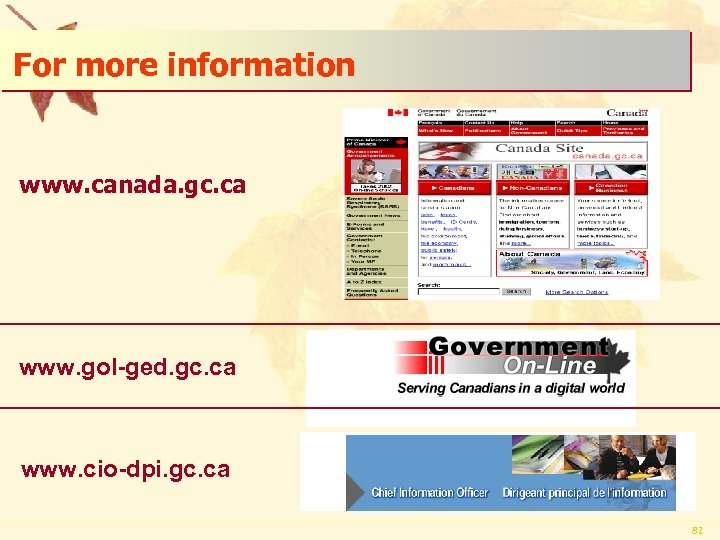 For more information www. canada. gc. ca www. gol-ged. gc. ca www. cio-dpi. gc.