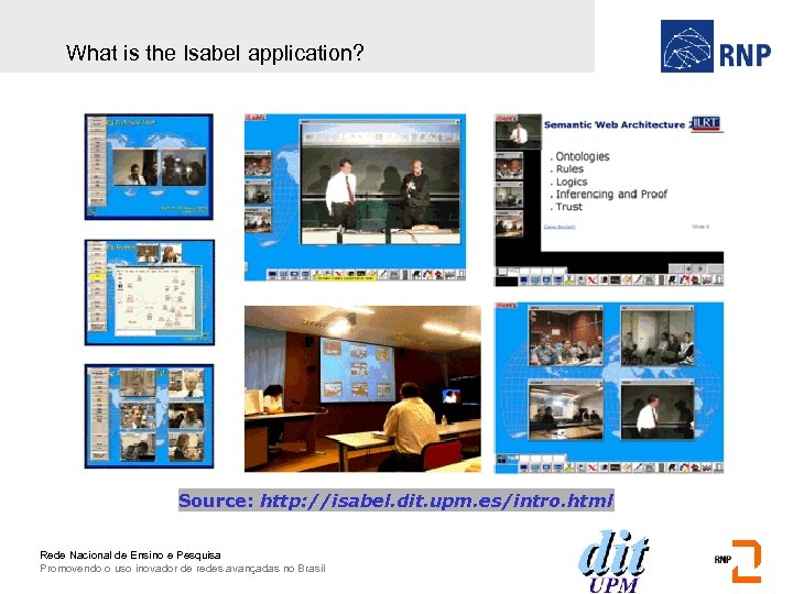 What is the Isabel application? Source: http: //isabel. dit. upm. es/intro. html Rede Nacional