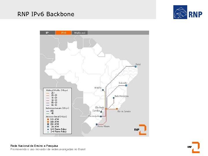 RNP IPv 6 Backbone Rede Nacional de Ensino e Pesquisa Promovendo o uso inovador
