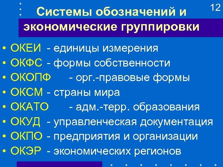 Системы обозначений и экономические группировки • • 12 ОКЕИ - единицы измерения ОКФС -