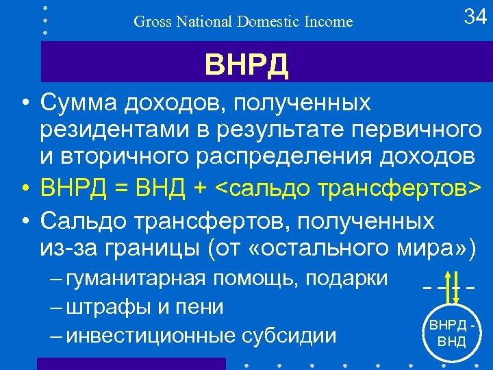Gross National Domestic Income 34 ВНРД • Сумма доходов, полученных резидентами в результате первичного
