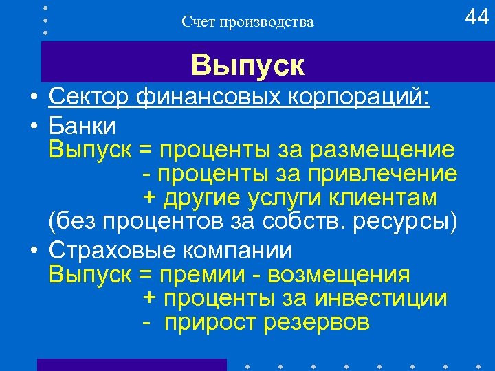 Счет производства Выпуск • Сектор финансовых корпораций: • Банки Выпуск = проценты за размещение
