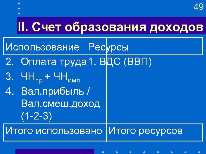 49 II. Счет образования доходов Использование Ресурсы 2. Оплата труда 1. ВДС (ВВП) 3.