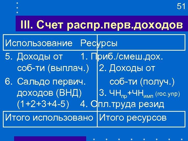 51 III. Счет распр. перв. доходов Использование Ресурсы 5. Доходы от 1. Приб. /смеш.