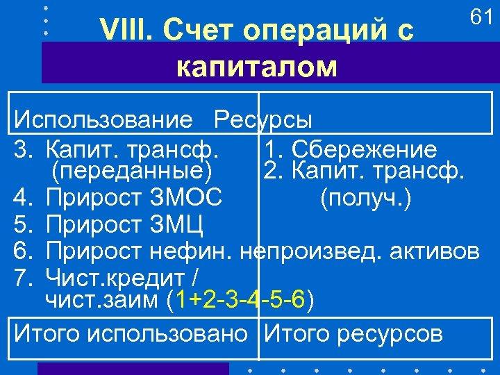 VIII. Счет операций с капиталом 61 Использование Ресурсы 3. Капит. трансф. 1. Сбережение (переданные)
