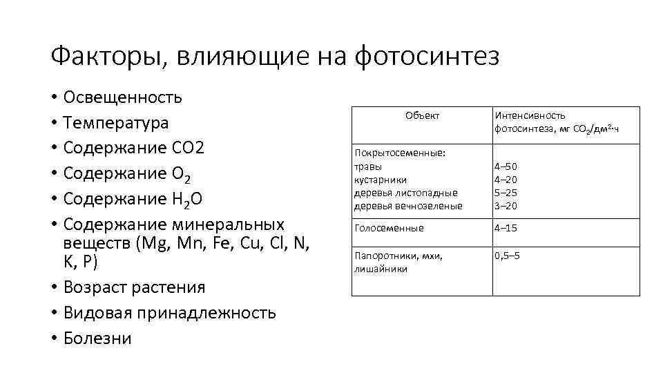 болячки к внешним факторам фотосинтеза относится российском рынке
