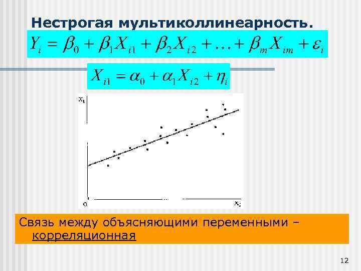 Нестрогая мультиколлинеарность. Связь между объясняющими переменными – корреляционная 12