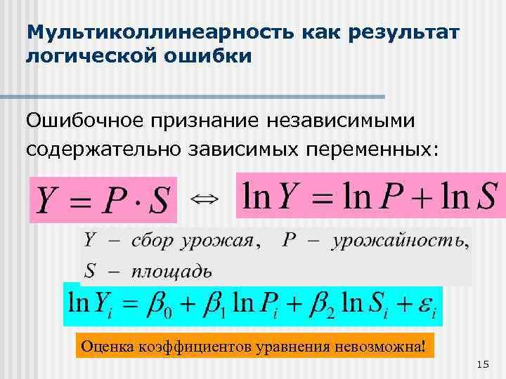 Мультиколлинеарность как результат логической ошибки Ошибочное признание независимыми содержательно зависимых переменных: Оценка коэффициентов уравнения