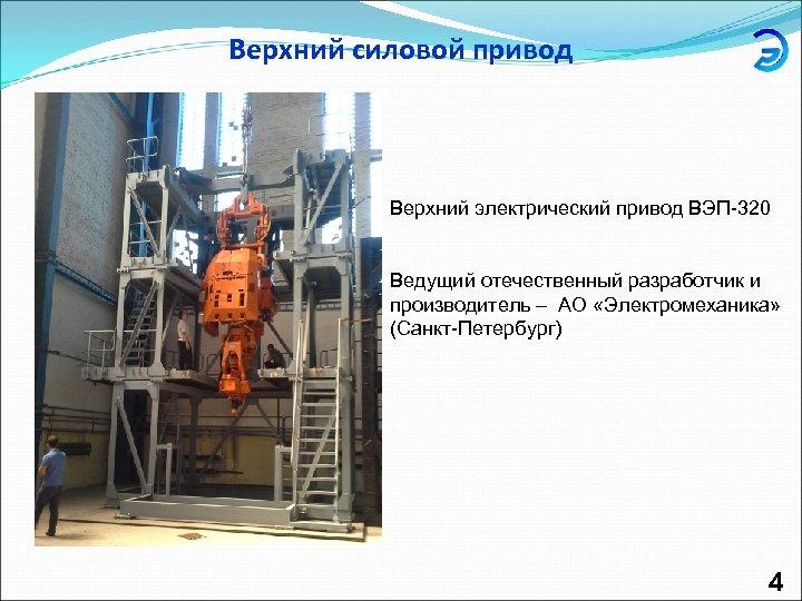 Верхний силовой привод Верхний электрический привод ВЭП-320 Ведущий отечественный разработчик и производитель – АО