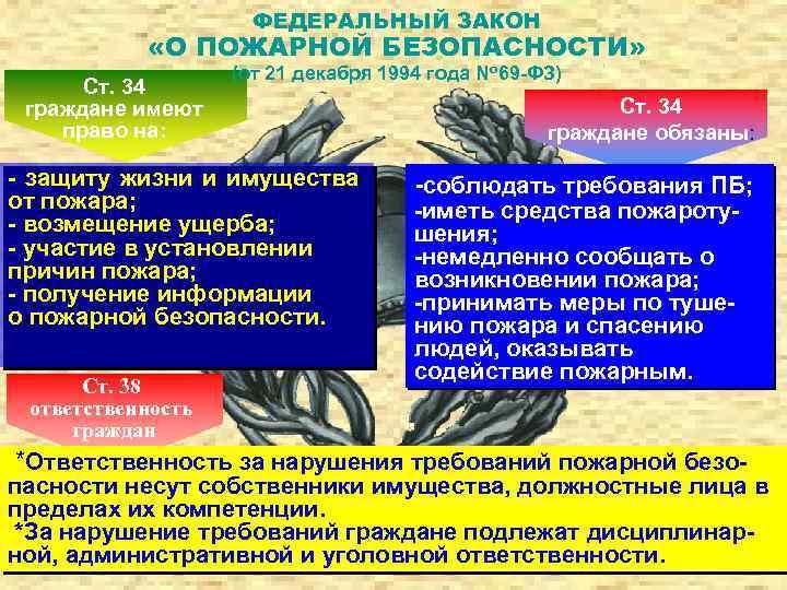 ФЕДЕРАЛЬНЫЙ ЗАКОН «О ПОЖАРНОЙ БЕЗОПАСНОСТИ» Ст. 34 граждане имеют право на: (от 21 декабря
