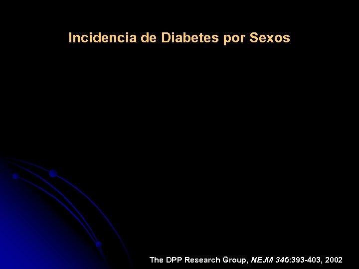 Incidencia de Diabetes por Sexos The DPP Research Group, NEJM 346: 393 -403, 2002