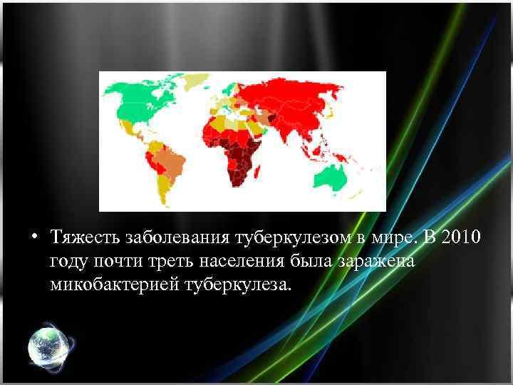 • Тяжесть заболевания туберкулезом в мире. В 2010 году почти треть населения была