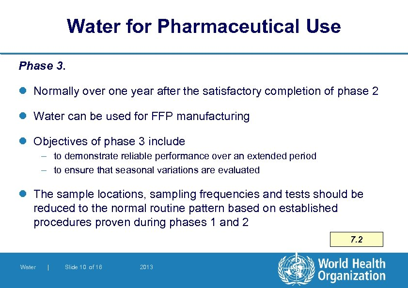 Water for Pharmaceutical Use Phase 3. l Normally over one year after the satisfactory