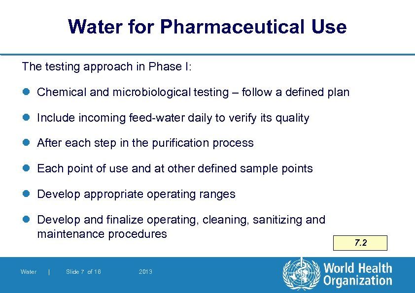 Water for Pharmaceutical Use The testing approach in Phase I: l Chemical and microbiological