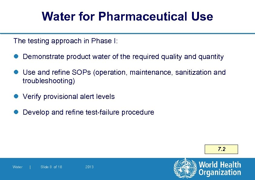 Water for Pharmaceutical Use The testing approach in Phase I: l Demonstrate product water