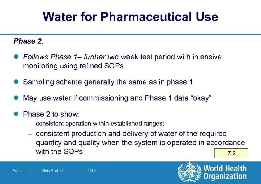 Water for Pharmaceutical Use Phase 2. l Follows Phase 1– further two week test