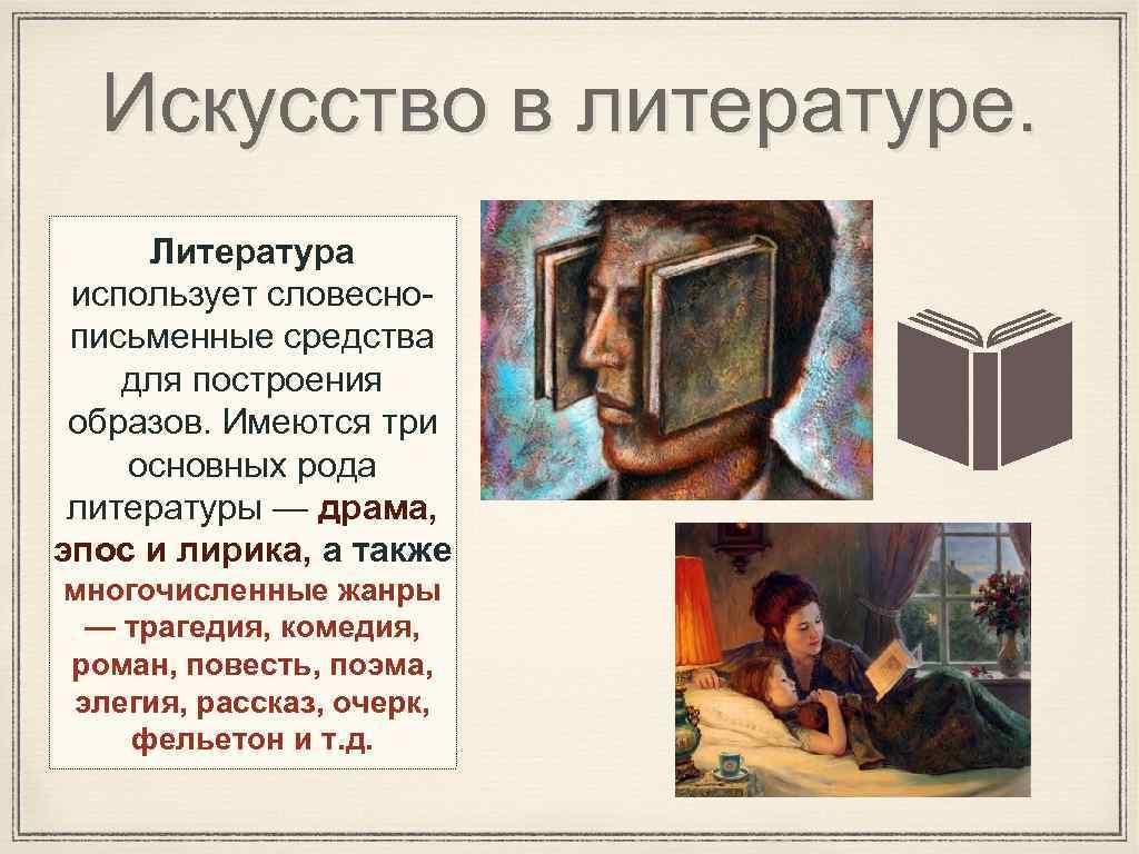 Искусство в литературе. Литература использует словеснописьменные средства для построения образов. Имеются три основных рода