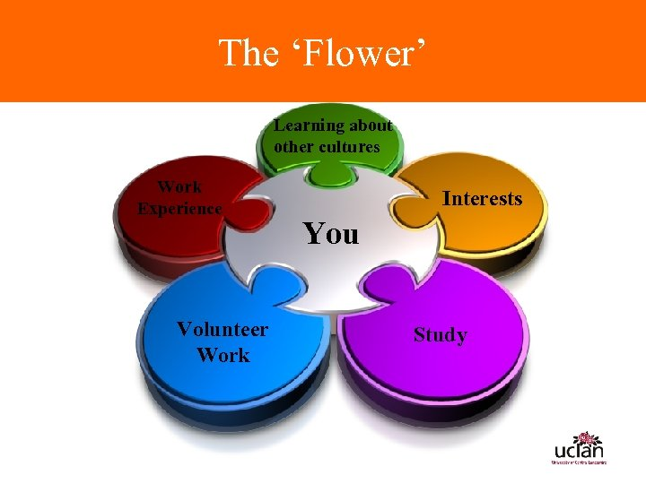 The 'Flower' Learning about other cultures Work Experience Volunteer Work Interests You Study