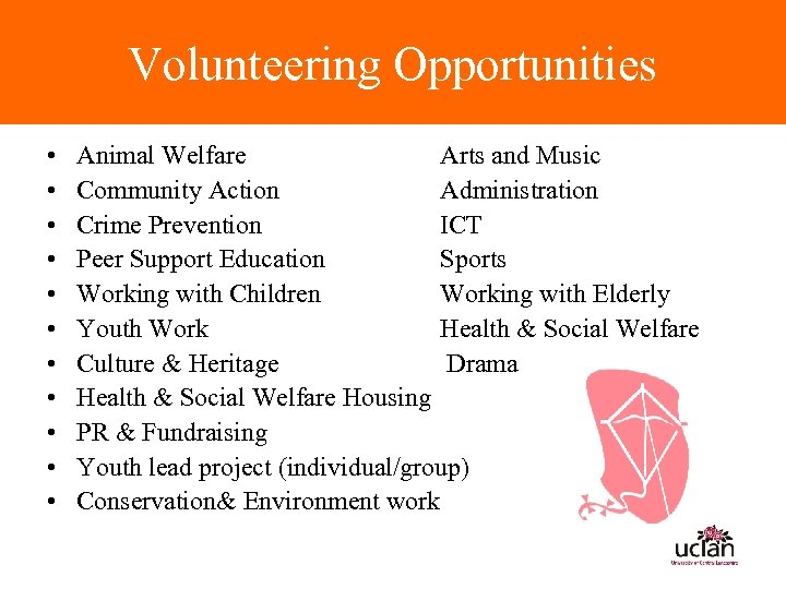 Volunteering Opportunities • • • Animal Welfare Arts and Music Community Action Administration Crime