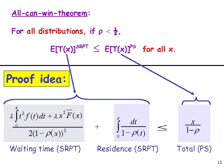 All-can-win-theorem: For all distributions, if r < ½, E[T(x)]SRPT £ E[T(x)]PS for all x.