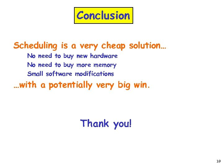 Conclusion Scheduling is a very cheap solution… No need to buy new hardware No