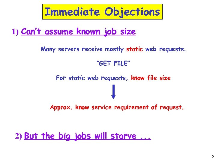 Immediate Objections 1) Can't assume known job size Many servers receive mostly static web