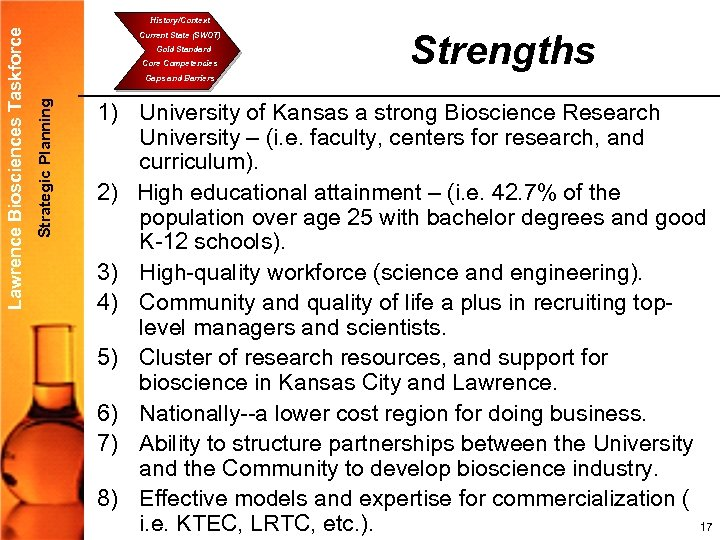 Current State (SWOT) Gold Standard Core Competencies Strengths Gaps and Barriers Strategic Planning Lawrence