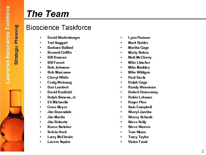 Strategic Planning Lawrence Bioscience Taskforce The Team Bioscience Taskforce • • • • •