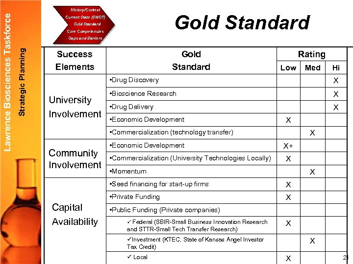 Gold Standard Current State (SWOT) Gold Standard Core Competencies Gaps and Barriers Strategic Planning