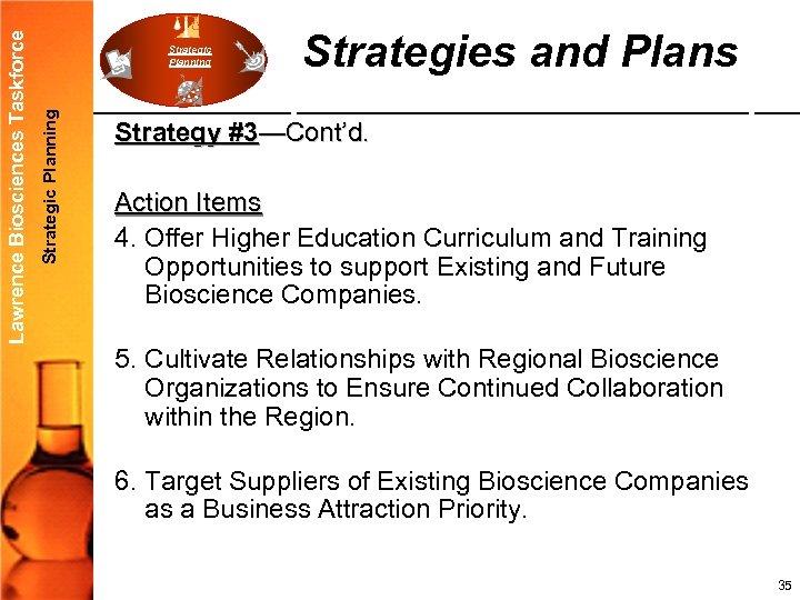 Strategic Planning Lawrence Biosciences Taskforce Strategic Planning Strategies and Plans Strategy #3—Cont'd. Action Items